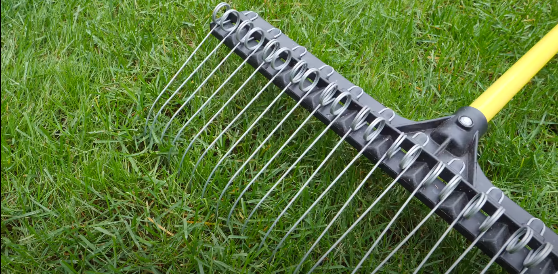 A landscape rack on a lawn.