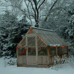 A greenhouse in a snowy winter